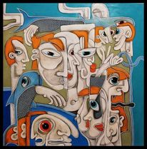 Malerei, Türkis, Mischtechnik, Menschen