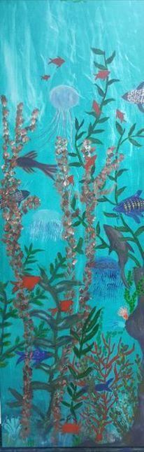 Unterwasserwelt, Acrylmalerei, Landschaft, Malerei