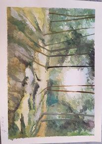 Aquarellmalerei, Wald, Wunderland, Aquarell
