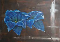 Acrylmalerei, Gemälde, Blau, Stillleben