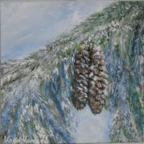 Türkis, Blumen, Acrylmalerei, Eis