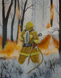 Feuerwehr, Wandbild, Acrylmalerei, Waldbrand