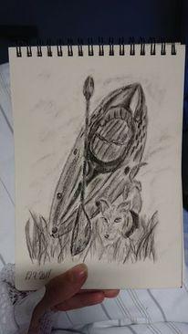 Kohlezeichnung, Kajak, Hund, Zeichnungen