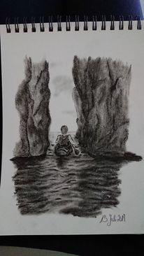 Kohlezeichnung, Kajak, Meer, Zeichnungen
