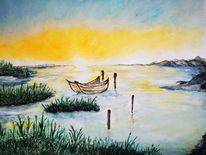 Malerei, Boot, Seelandschaft, Aquarell