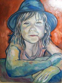 Portrait, Blau, Mädchen, Handschuhe