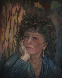 Frau, Nachdenklich, Ölmalerei, Malerei