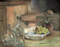Flasche, Silberdistel, Malerei, Stillleben