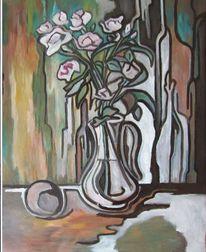 Ende, Malerei, Weiß, Rose