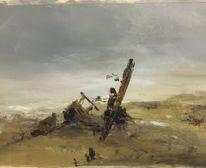 Öl auf papier, Malerei, Wrack, Landschaft