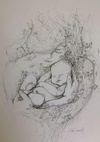 Tuschmalerei, Zeichnung, Baby, Zeichnungen