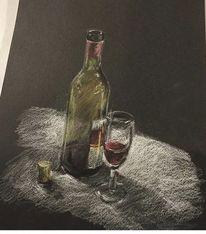 Flasche, Glas, Wein, Stillleben
