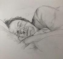 Portrait, Bleistiftzeichnung, Schlaf, Zeichnungen