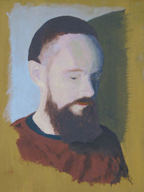 Untermalung, Selbstportrait, Mann, Malerei