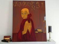 Mönch, Acrylmalerei, Gold, Portrait
