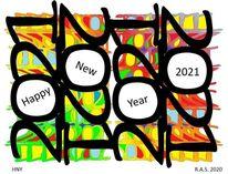 Zahlen, Jahr, Bunt, Digitale kunst