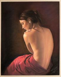 Akt, Frau, Pastellmalerei, Menschen