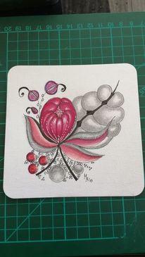 Malerei, Blüte, Schmuckkügelchen, Technik