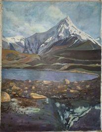 See, Berge, Dunkel, Landschaft