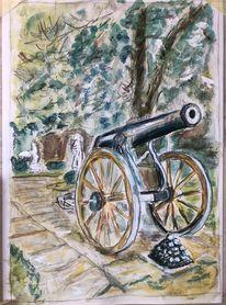 Aquarellmalerei, Auf der stromburg, Din a4, Malerei