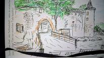 Burg, Hessen, Zeichnung, Zeichnungen