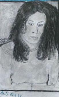 Bleistiftzeichnung, Kreide, Frau, Zeichnungen