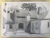 Hessen, Bleistiftzeichnung, Hof, Zeichnungen