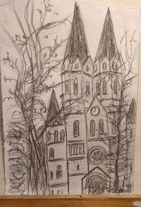 Kirche, Ringkirche, Wiesbaden, Zeichnungen