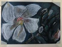 Magnolien, Kreide, Malerei,