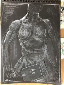 Mann, Kreide, Kohlezeichnung, Zeichnungen