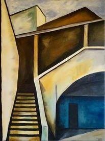 Acrylmalerei, Innenhof, Architektur, Malerei
