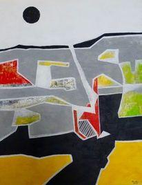 Schwarze sonne, Acrylmalerei, Abstrakt, Malerei