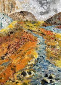 Landschaft, Vulkan, Acrylmalerei, Malerei