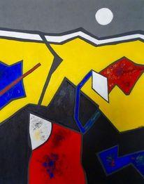Abstrakt, Weißer mond, Acrylmalerei, Malerei