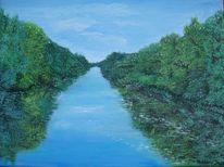 Landschaft, Kanal, Malerei, Wald