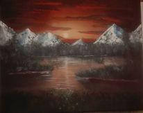 Landschaft, Berge, Malerei, See