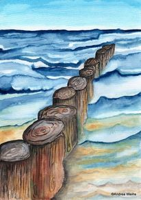 Aquarellmalerei, Blau, Malerei, Landschaft
