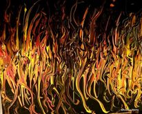 Malerei, Bronze, Rot, Feuer
