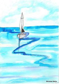 Landschaft malerei, Blau, Aquarellmalerei, Aquarell