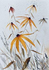 Malerei, Pflanzen, Blumen, Aquarellmalerei