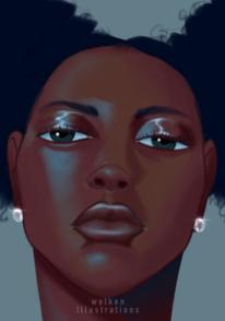 Digitale kunst, Menschen, Frau, Blau