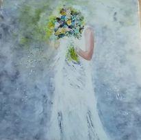 Frau, Malerei, Braut, Blumenstrauß