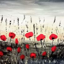 Mohnblumen, Blumen, Acrylmalerei, Korn blume
