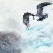 Wolken, Landschaft, Acrylmalerei, Vogel