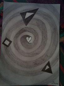 Abstrakt, Buntstiftzeichnung, Spirale, Surreal