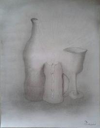 Zeichnung, Kerzen, Weinflasche, Stillleben