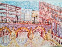 Stadt, Hamburg, Farben, Zeichnungen