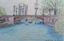 Wasser, Stadt, Brücke, Zeichnungen