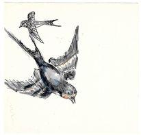 Aquarellmalerei, Schwalbe, Martha krug, Aquarell