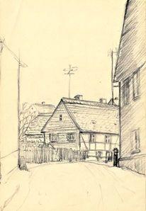 Martha krug, Dorfstrasse in sachsen, Zeichnung, Zeichnungen